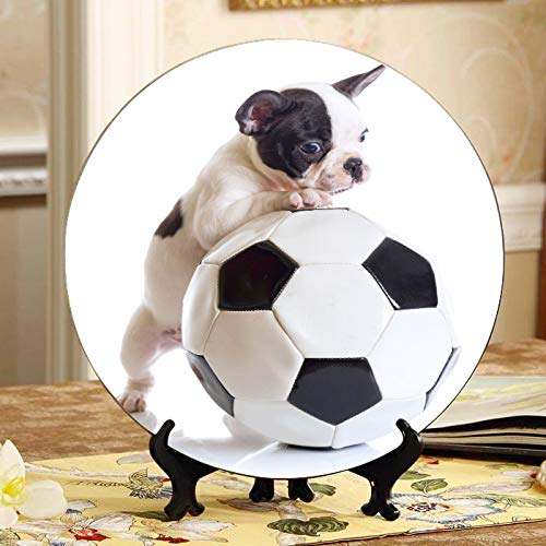 JGYJF French Bulldog Puppy with Soccer Ball 1 Kids Plates Ceramic Colorful Ceramic Plates Home Wobble-Plate with Display Stand Decoration Household Kids Plates Ceramic