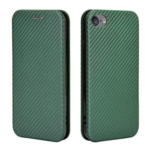 Custodia a portafoglio per iPhone iPod Touch 5 6 7 in fibra di carbonio PU + TPU ibrida custodia antiurto con cinghia, cavalletto