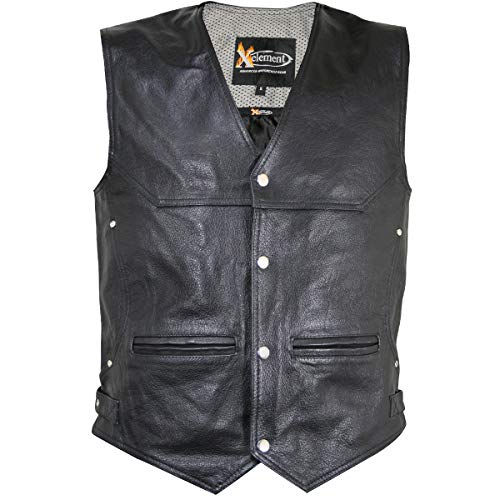 Xelement XS1927 Men's 'Road King' Black Leather Biker Vest with Gun Pockets - Large