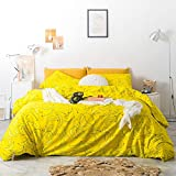 SUSYBAO 3 Piece Duvet Cover Set 100% Cotton Queen Size Yellow Fruit Print Bedding Set 1 Banana Pattern Duvet Cover with Zipper Ties 2 Pillow Cases Hotel Quality Soft Luxurious Comfortable Lightweight