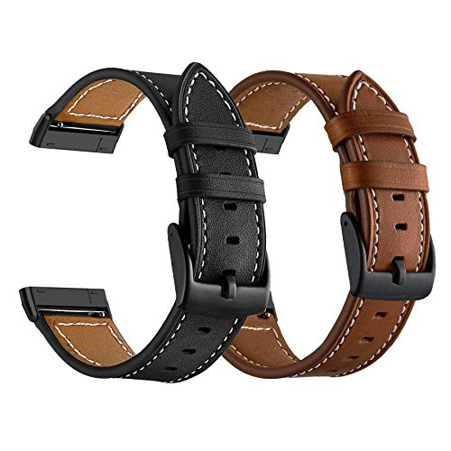 LDFAS Leather Band Compatible for Fitbit Sense/Versa 3 Bands, (2 Pack) Women Men Accessory Watch...