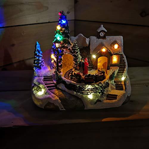 Navidad PUEBLO Escena de pilas Giratorio Tren Iluminación Árboles