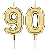 Velas de Cumpleaños de Años 90 Velas de Pastel Numeral Decoración de Topper de Velas de Feliz Cumpleaños para Suministros de Celebración de Aniversario Boda Cumpleaños