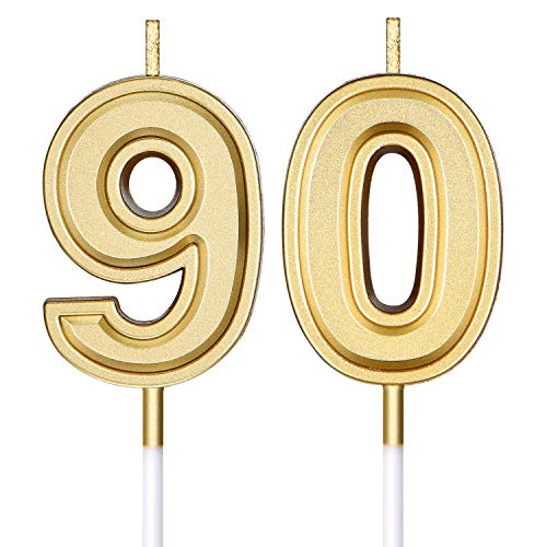 90th Birthday Candles Cake Numeral Candles Happy Birthday Cake Candles Topper Decoration for Birthday Wedding Anniversary Celebration Supplies (Gold)