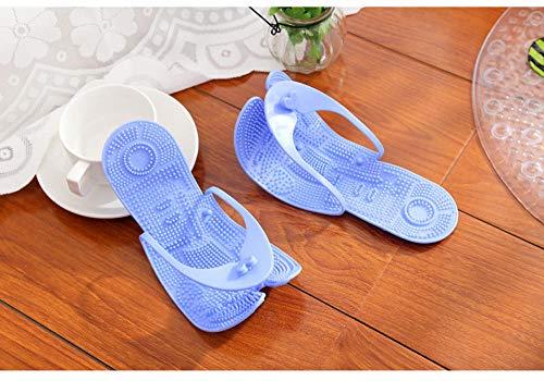 LNLJ - Pantuflas de masaje de pies para hombres y mujeres, sandalias, sillones de baño, pantuflas plegables antideslizantes, color azul A35-37