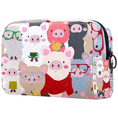 Organisateur de pinceaux de maquillage, petit sac de cosmétiques organiseur de voyage avec fermeture éclair pour femmes et filles 7,3 x 3 x 5,1 cm, panda blanc mat