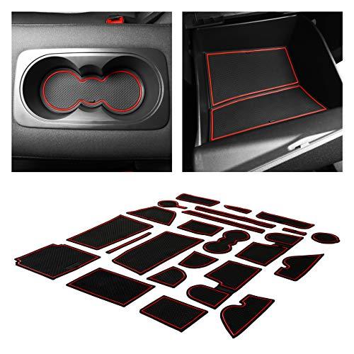 CupHolderHero fits Ford Escape Accessories 2017-2019 Premium Custom Interior Non-Slip Anti Dust Cup Holder Inserts, Center Console Liner Mats, Door Pocket Liners 23-pc Set (Red Trim)