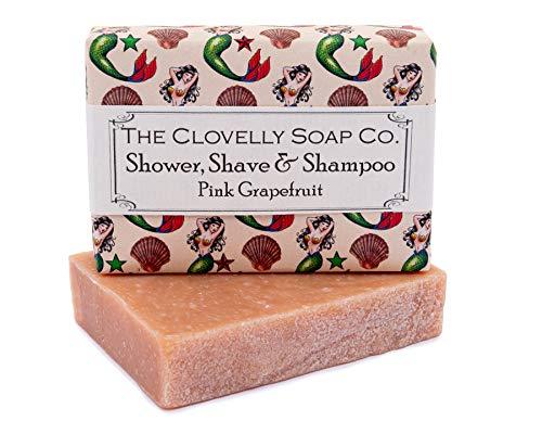 Clovelly Soap Co Natürliche handgemachte Haarseife für normale bis fettige Haare & Kopfhaut Pink Grapefruit 100g