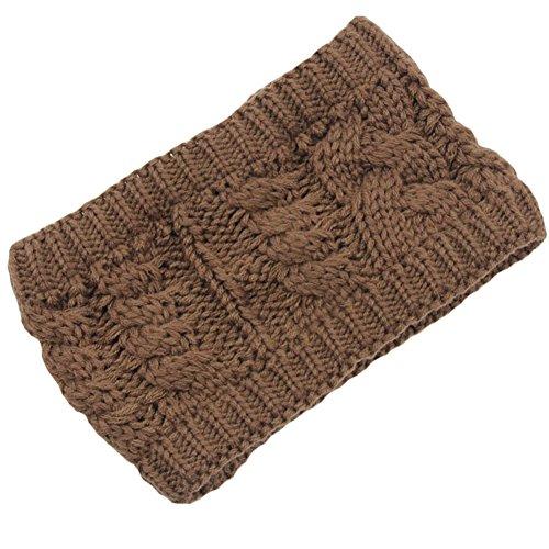 Les filles d'hiver tricoté bandeau tressé oreille plus chaud, Kaki