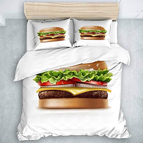 Haoerwu Bettwäsche Set,Mikrofaser,Food Theme Amerikanischer Cheeseburger mit Salat-Tomaten-Zwiebel-Käse-Rindfleisch und Sauce,1 Bettbezug 200x200cm + 2 Kopfkissenbezug 50 x 80cm