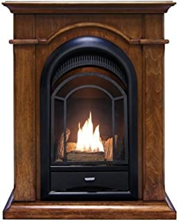 ProCom PCS150T-A-W Ventless Dual Fuel Fireplace System with Corner Combo, 15,000 BTU, Walnut