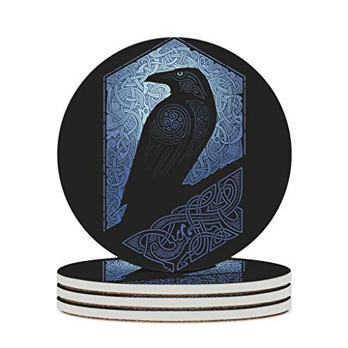 Fineiwillgo Posavasos de cerámica Viking Odin Ravens, redondo, protector de cerámica, con parte posterior de corcho, diseñado para bar, cristal, hogar, diámetro de 9,8 cm, color blanco, 6 unidades
