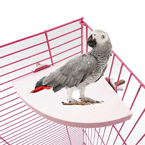Soapow 2 piezas de madera de la forma del abanico de la jaula del pájaro percas soporte plataforma juguete para mascotas hámster loro caliente
