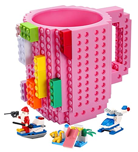 POXIWIN Build-on Brick Coffee Mug,Creative DIY Building Blocks Cup with 3 Packs of Blocks randomly,Novelty Kids Party Mugs for Kids Adults Birthday Xmas,Pink