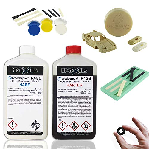 PU Gießharz mit Härter 1kg | Schnellgießharz beigefarben, Aushärtungszeit 4 Min für filigrane Teile | Lösemittelfrei und geruchsarm | 2 Komponenten Resin zum Gießen | Polyurethan | HP-R4GB