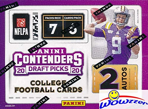2020 Panini Contenders Draft Pick NFL Football EXCLUSIVE Factory Sealed Retail Box with TWO(2) AUTOGRAPHS! Look for ROOKIES & AUTOS of Joe Burrow, Tua Tagovailoa, Justin Herbert & Many More! WOWZZER!
