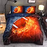 Sisher American Football Bedding Set Full Size, Teens 3D Printed Rugby Sports Comforter Sets for Boys Kids(1 Comforter + 2 Pillow Shams)
