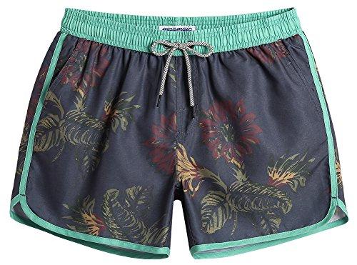 MaaMgic Bañador Hombre de Natación Secado Rápido Interior de Malla Pantalones Cortos d'Aire Vintage 80s 90s,Verde & Negro,S