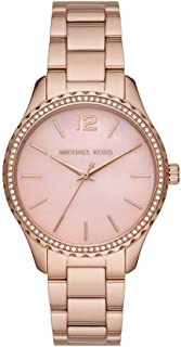 Michael Kors MK6848 Stainless Steel Stone Embellished Bezel Round Analog Watch for Women - Rose Gold