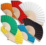 Bonito Abanicos Regalo Boda Personalizados 50 Abanicos de Boda Elegantes Originales Modernos de Madera Natural Algodón y Poliéster Artesanales de 43x23 cms en Amazon con 9 Colores Surtidos