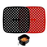 OURIZE 2Pcs Reusable Air Fryer Liners, 8.5'' Square Type Silicone Basket Mats, Fryer Accessories for Ninja, Gourmia, Power XL, NuWave (Square)