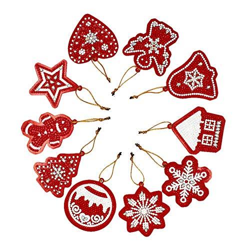 Vakind 10pcs Diamond Painting Kit DIY Special Shaped Diamond Painting Christmas Tree Pendants for Home Wall Decoration Home Wall Decor Kit
