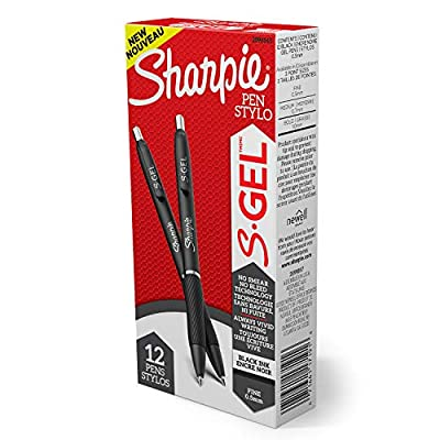 Sharpie S-Gel, Gel Pens, Fine Point (0.5mm), Black Ink Gel Pen, 12 Count