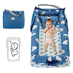 Baby Lounger Baby Nest with Pillow Folding Portable Newborn Cotton Crib Bassinet Breathable & Soft for Travel Bedroom Outdoor… (Polar Bears (Blue))