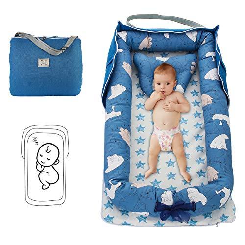 Damohony babyligstoel voor pasgeborenen, opvouwbaar, draagbaar, babybed, babybed, voor reizen en slaapkamer in de open lucht 85 x 45 x 12cm Blauwe beer