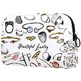 Bolsa de maquillaje personalizable, bolsa de aseo portátil, bolsa de aseo para mujer, bolsa de cosméticos, organizador de viaje, anillos plateados
