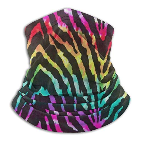 NA Neck Gaiter Rainbow Zebra Print Ski Neck Cover Warmer