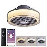 Low Profile Ceiling Fan with Lights Remote Control, Modern Enclosed Ceiling Fan with Dimmable LED Lights, Semi Flush Mount Bladeless Ceiling Fan with APP Control (Smoky gray, 15.7''/40cm)