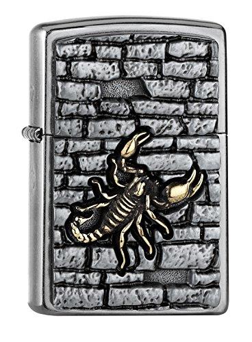 Zippo Scorpion ON The Wall Emblem Benzinfeuerzeug, Messing, Edelstahloptik, 1 x 6 x 6 cm