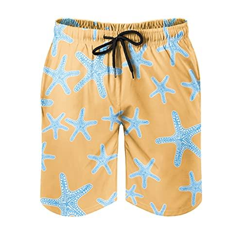 Ktewqmp Zomer zwembroek zeester oranje mannen zwembroek zwembroek heren met zakken lopen