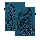 Rosbtib Funda para Lenovo Tab M10 HD (2nd Gen) 10.1' TB-X306X/ TB-X306, Flip Cover con Banda Elástica Función de Soporte PU + TPU Cuero Case Cover Estampado de Mariposas Vintage - Azul