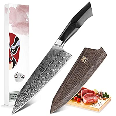 XINZUO Damascus Steel Chef Knife, 8.5 inch Kiritsuke Kitchen Knife Professional Forged Gyuto Cooking Knife, Military Grade G10 Handle with Magnetic Sheath -Feng Series