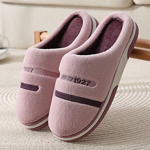 ZYING Zore Zapatos Zapatillas Masculinos Invierno Inicio toboganes Interior Zapato térmico Antideslizante Hombres Zapatillas de cálido (Color : Purple, Size : 36-37)