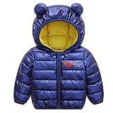 Baby Jacke Winter Mantel Kapuzenjacke Ultraleicht Mäntel mit Kapuze Gepolstert Blau 100cm