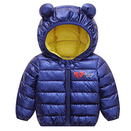 JiAmy Bebé Chaqueta Invierno Abrigo con Capucha Ligero Trajes Ropa de Calle Acolchado Azul 90cm