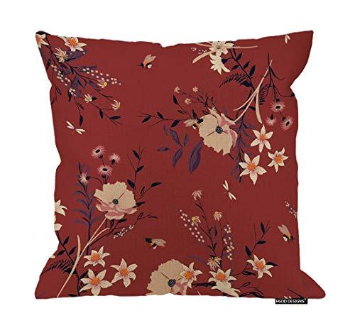 Funda de almohada con diseño floral en los muchos tipos de flores en el color rojo y lino fundas de cojín decorativas para el hogar, 45,7 x 45,7 cm