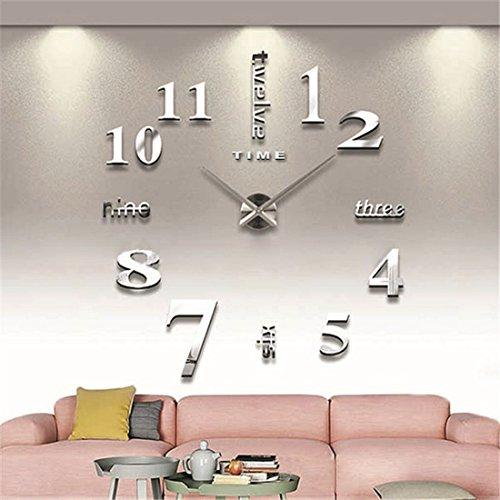 Grande orologio da parete moderno 3D, nero, silente, decorazione murale fai da te, per cucina, casa Silver