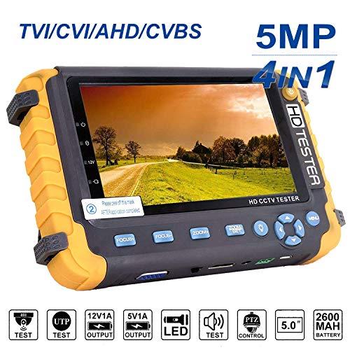 4 in 1 CCTV-Tester, 5MP AHD/TVI/CVI/CVBS-Koaxial-HD-Videomonitor-Tester, analoger Video/UTP-Kabeltest/PTZ-Controller, VGA/HDMI-Eingang, DC12V-Ausgangskamera CCTV-Tester