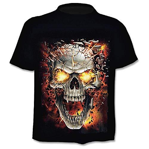 Camiseta Hombre Calavera - Metal - Biker - gótico - Rock - Punk - Oscuro - Manga Corta - Divertido - Camisa - niño - Fuego - Disfraz - Halloween - Color Negro