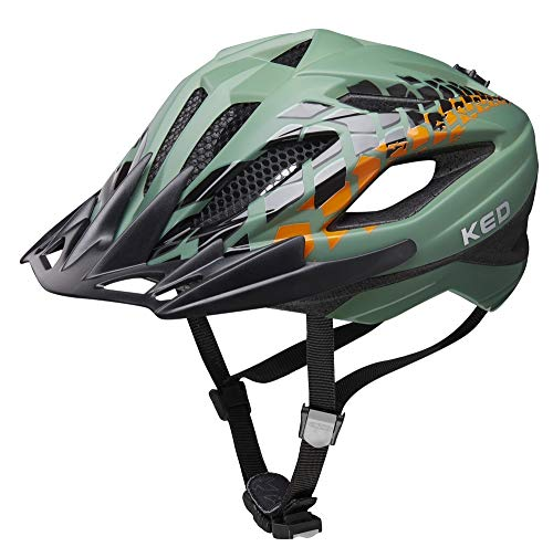 KED Street Jr. Pro S Olive - 49-55 cm - inkl. RennMaxe Sicherheitsband - Fahrradhelm Skaterhelm MTB BMX Erwachsene Jugendliche