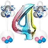 Herefun 23 Piezas Foil Globo Número Azul Arcoiris Gradient kit, Gigante Numeros 0 1 2 3 4 5 6 7 8 9, para La Boda Aniversario Bienvenida Al Bebé, Cumpleaños Fiesta Decoración Adultos y Niños (4)