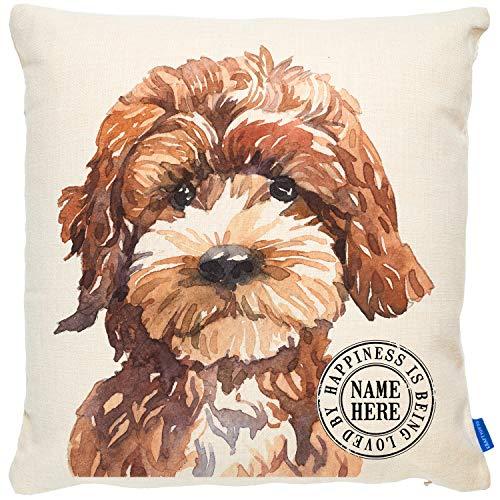 KRAFTYGIFTS Personalised COCKAPOO Dog Cushion Portrait Artwork Pet Lover Sofa Pillow Cover KDC14