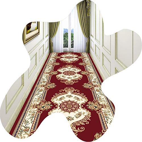 LIUXIUER Passatoia Corridoio, Motivo Floreale Etnico Rosso può Tagliare Tappetino Antiscivolo Facile da Pulire E Lavabile Senza Sbiadire per La Decorazione Domestica Scale Soggiorno,0.5x2m