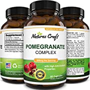 Natural & Pure Pomegranate Supplement for Women & Men - Powerful Antioxidant Pills Immune System Booster - Best Energy Booster Supplements - Pure Capsules by Natures Craft
