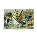 ISAOA Rompecabezas grande de 500 piezas para niños adultos, gallo y gallina Vintage rural Life Puzzle