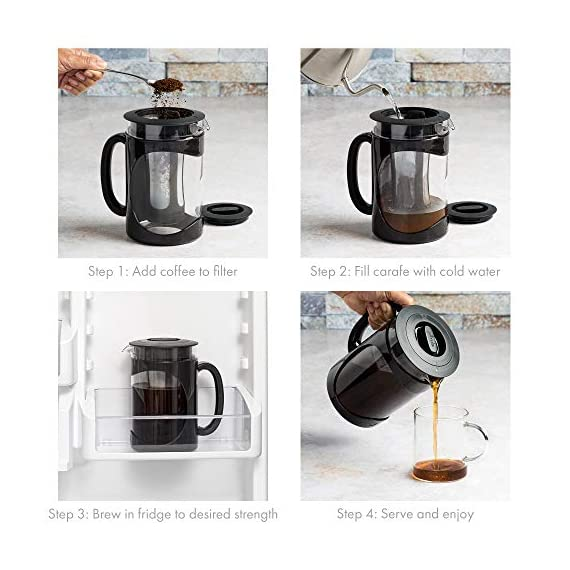 Iced Coffee Maker, Comfort Grip Handle, Durable Glass Carafe, Removable Mesh Filter, Perfect 6 Cup Size, Dishwasher Safe… 7 BETTER BREWING - Enjoy smooth, delicious cold brew coffee at home. Also great for iced tea and infused beverages. The high quality keeps your beverage fresh for days! EASY-TO-USE - Brew, store and serve all in one. A simple four step process: 1) Simply add coffee grounds to brew filter, 2) Pour cold water over coffee, 3) Brew in the refrigerator overnight 4) Serve and enjoy! INNOVATIVE DESIGN - Made of temperature safe borosilicate glass with a durable protective holder and comfortable grip handle. Specially designed lid seals in freshness for days and provides a smooth, drip-free pour. Fine mesh coffee filter keeps grounds out of your coffee. Non-slip silicone base protects the glass from accidental slips.